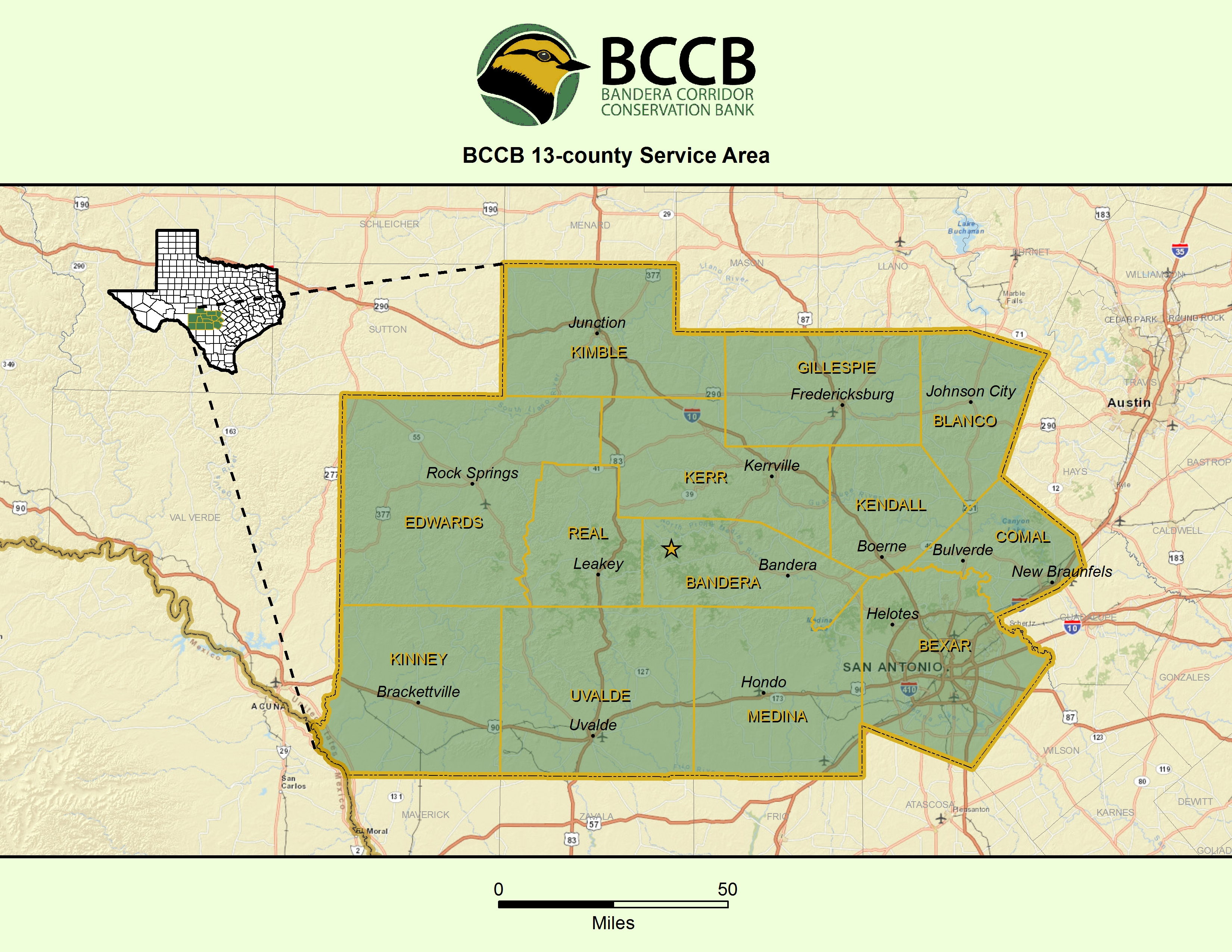 Image of Bandera Corridor Conservation Bank 13-county Service Area, including: Bandera, Bexar, Blanco, Comal, Edwards, Gillespie, Kendall, Kerr, Kimble, Kinney, Medina, Real and Uvalde counties.
